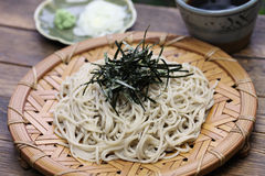 Cold soba buckwheat noodles, japanese food Royalty Free Stock Images
