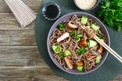 Cold soba with chicken, fresh cucumbers, sauce and sesame. Classic cold salad with buckwheat noodles. Japanese food. Traditional. Asian cuisine. Top view, flat royalty free stock image