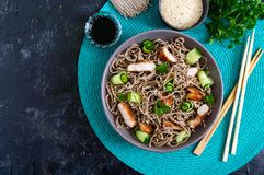 Cold soba with chicken, fresh cucumbers, sauce and sesame. Classic cold salad with buckwheat noodles. Japanese food. Traditional. Asian cuisine. Top view stock images