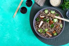 Cold soba with chicken, fresh cucumbers, sauce and sesame. Classic cold salad with buckwheat noodles. Japanese food. Traditional. Asian cuisine. Top view, flat royalty free stock photos