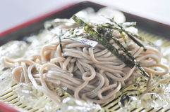 Cold soba or cold noodle in Japanese food Stock Photos