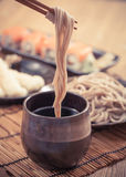 Cold soba. Traditional Japanese food royalty free stock photos