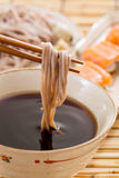 Cold soba. Traditional Japanese food royalty free stock photo