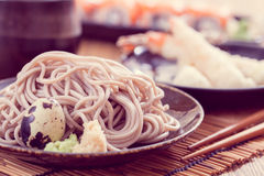 Cold soba. Traditional Japanese food stock image