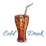Cold soda drink with ice isolated sketch. Cold soda drink with ice sketch of soft beverage, served in tall glass with drinking straw. Fast food cafe, soft drinks Royalty Free Stock Photography