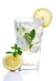 Cold soft drink. With lemon and mint Royalty Free Stock Photo