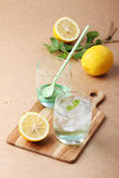 Cold soft drink from apple syrup and mint Stock Photo