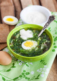 Cold sorrel soup with egg. Cold summer sorrel soup with eggs and sour cream Royalty Free Stock Photo