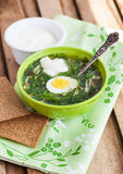 Cold sorrel soup with egg. Cold summer sorrel soup with eggs and sour cream stock photos