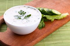 Cold soup with avocado, cucumber and yogurt Royalty Free Stock Photo