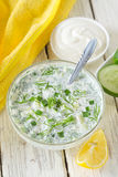 Cold soup. With cucumber, parsley, dill, parsley and sour cream Royalty Free Stock Photo