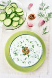 Cold soup with cucumber and yogurt Stock Photography