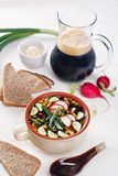 Cold soup with eggs, cucumber, radish and greens Stock Photography