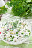 Cold soup with fresh vegetables and kefir (okroshka), vertical Royalty Free Stock Image