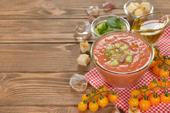 Cold soup gazpacho with yellow tomatoes Stock Photography