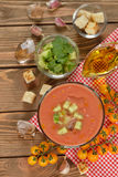 Cold soup gazpacho with yellow tomatoes Royalty Free Stock Photo
