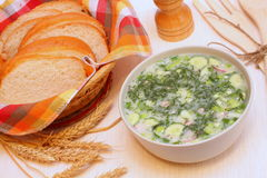Cold soup okroshka Royalty Free Stock Photography