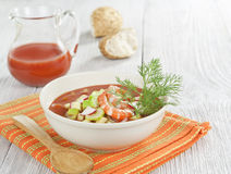 Cold soup with shrimp, vegetables and tomato juice Stock Photo