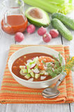 Cold soup with shrimp, vegetables and tomato juice Stock Photography