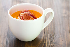 Cold soup with smoked meat in white cup Royalty Free Stock Photography