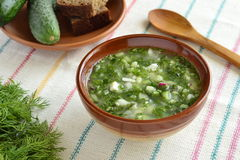 Cold soup with vegetables, okroshka Stock Photography