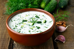 Cold soup with yoghurt Royalty Free Stock Photos