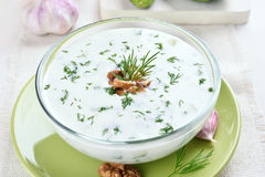 Cold soup with yogurt and cucumber Royalty Free Stock Photography