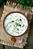 Cold soup with yogurt, cucumber and dill Stock Photo