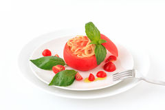 Cold spaghetti tomatosauce Stock Images