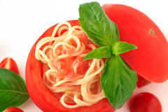 Cold spaghetti tomatosauce Royalty Free Stock Images