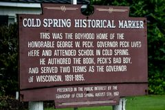 Cold Spring Historical Marker - Cold Spring, Wisconsin stock images