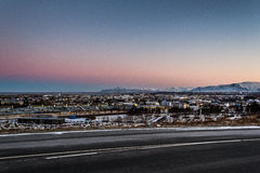 Cold but still morning. First snow and frosty mornings in Iceland Royalty Free Stock Photo