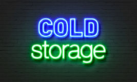 Cold storage neon sign on brick wall background. Royalty Free Stock Photography
