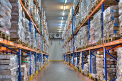 Cold storage refrigerated warehousing, frozen food Royalty Free Stock Photography