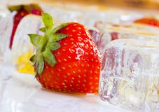 Cold strawberries with honey. Honey is a sweet and viscous fluid produced by bees and other insects from the nectar of flowers. Honey is significantly sweeter Royalty Free Stock Photos