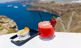 Cold strawberry cocktail and orange Stock Images
