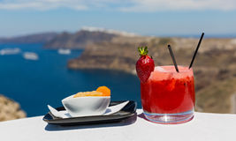 Cold strawberry cocktail and orange Stock Photography