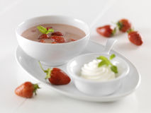 Cold strawberry soup Stock Photos