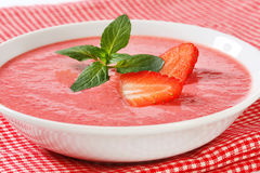 Cold strawberry soup Stock Photo