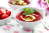 Cold strawberry soup for summer Royalty Free Stock Photography