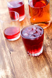 Cold strawberry tea with ice Stock Photography