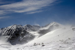 Cold and strong wind in the Rila Mountain. stock photo