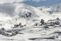 Cold and strong wind in the Rila Mountain. Royalty Free Stock Image