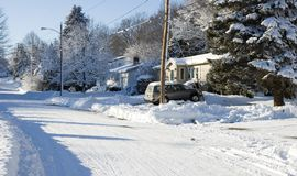 Cold in Suburbia. A Suburban stree in the middle of the winter Royalty Free Stock Image