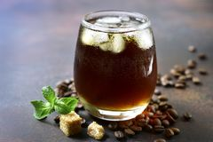 Cold summer cocktail with cola,whiskey and coffee liquor. stock images