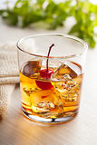 Cold summer cocktail drink with cherry Stock Image