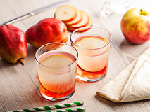 Cold summer cocktail drink with pear Stock Photos