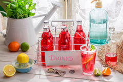 Cold summer drink in bottle Stock Images