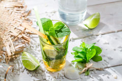 Cold summer drink with lemon and lime Stock Photos
