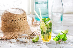 Cold summer drink with mint leaf Stock Photo